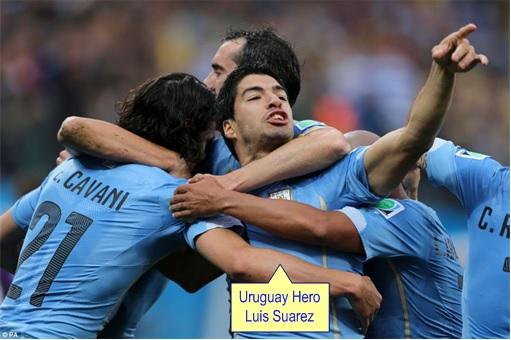 2014 FIFA World Cup - England Lost to Uruguay - Hero Luis Suarez