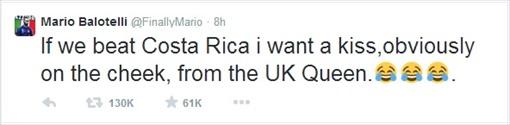 2014 FIFA World Cup - Mario Balotelli Wants UK Queen Kiss