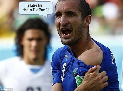 2014 FIFA World Cup - Uruguay Luis Suárez Bites Claudio Marchisio