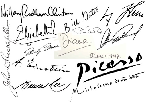50 Rich & Famous People Signatures - Mixture