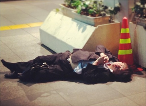 Japanese Culture - Drunken Sleeping in Public - 11
