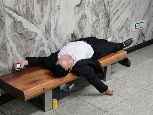 Japanese Culture - Drunken Sleeping in Public - 13