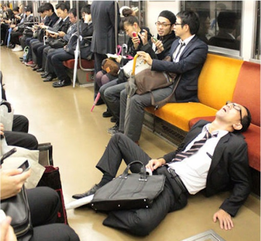 Japanese Culture - Drunken Sleeping in Public - 22