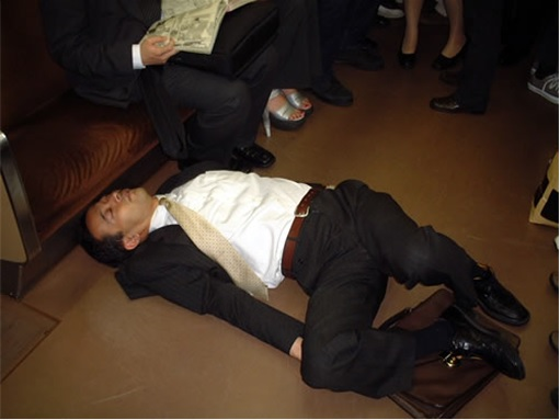 Japanese Culture - Drunken Sleeping in Public - 4