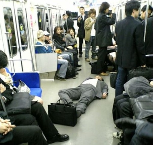 Japanese Culture - Drunken Sleeping in Public - 5