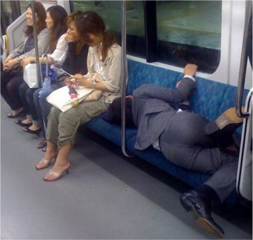 Japanese Culture - Drunken Sleeping in Public - 7