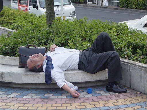Japanese Culture - Drunken Sleeping in Public - 9