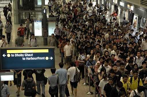 Singapore Crowds at MRT Station