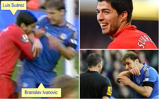 Uruguay Luis Suárez Bites Chelsea defender Branislav Ivanovic