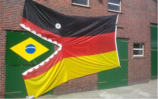 2014 FIFA World Cup - Brazil Lost 1-7 to Germany - Germany Flag Eat Brazil Flag