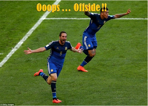 2014 FIFA World Cup - Germany Celebrates 1-0 Win Against Argentina - Argentina Gonzalo Higuain Offside - 2