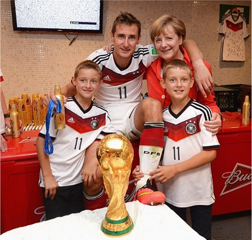 2014 FIFA World Cup - Germany Celebrates 1-0 Win Against Argentina - Klose and Germany Chancellor Angela Merkel