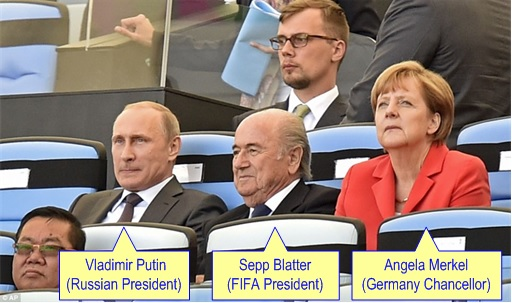 2014 FIFA World Cup - Germany Celebrates 1-0 Win Against Argentina - Russia Putin and Germany Chancellor Angela Merkel