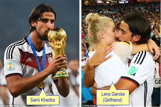 2014 FIFA World Cup - Germany Celebrates 1-0 Win Against Argentina - Sami Khedira With Trophy and Girfriend