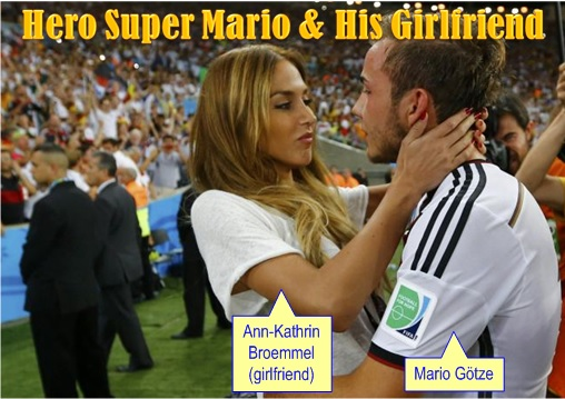 2014 FIFA World Cup - Germany Celebrates 1-0 Win Against Argentina - Super Mario Gotze and Girlfriend - 2