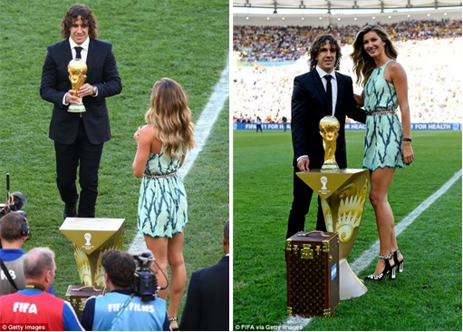 2014 FIFA World Cup - Germany Celebrates 1-0 Win Against Argentina - Trophy Taken out from LV case