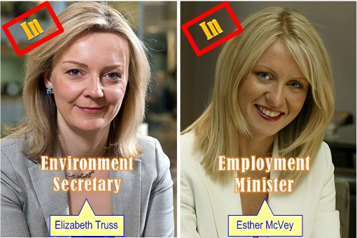 Britain David Cameron Cabinet Reshuffle - Elizabeth Truss, Esther McVey