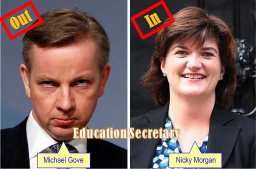 Britain David Cameron Cabinet Reshuffle - Michael Gove, Nicky Morgan