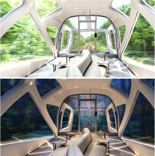 Ferrari Designer and Japan Seven-Star Train -  View with Glass War - Day and Night