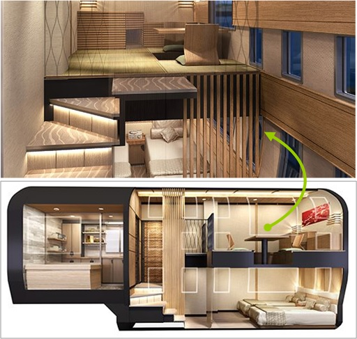 Ferrari Designer and Japan Seven-Star Train -   two-storey deluxe suite