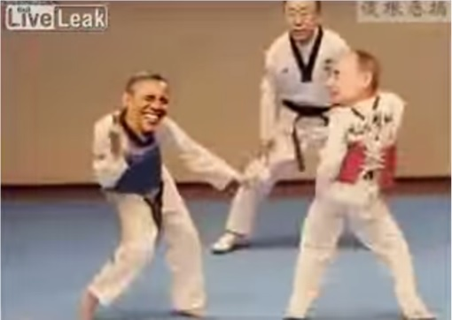 Funny Hilarious Video - Obama vs Putin Taekwondo