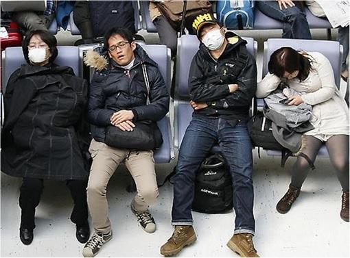 Japan Nine Hours Capsule Hotels - Sleeping on Chair at Narita Airport