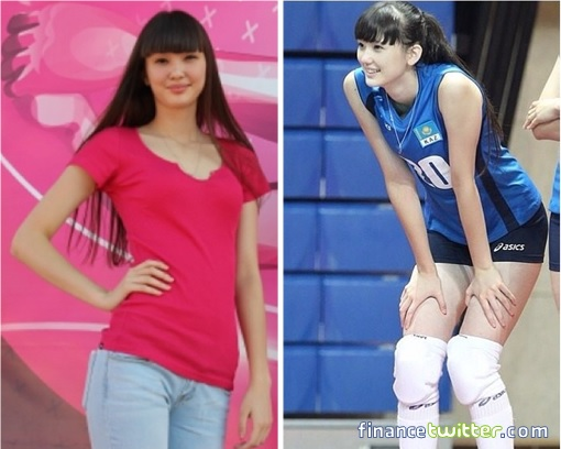 Kazakhstan Sabina Altynbekova - Volleyball Player Babe - blue team shirt and red T-shirt in jeans