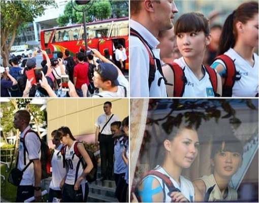 Kazakhstan Sabina Altynbekova - Volleyball Player Babe - fans chasing bus