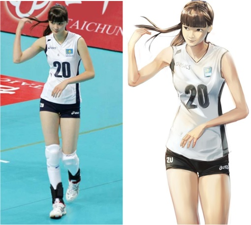 Kazakhstan Sabina Altynbekova - Volleyball Player Babe - flashing hair with fans' anime-drawing