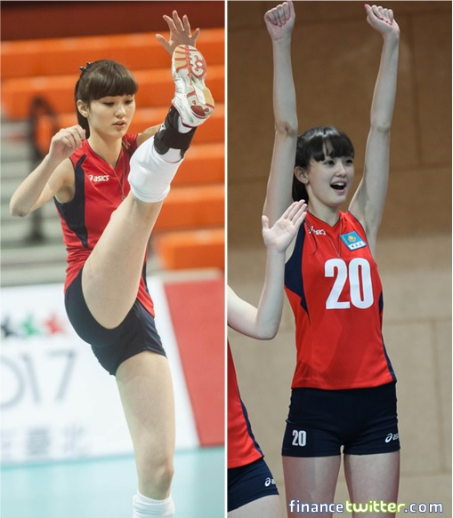 Kazakhstan Sabina Altynbekova - Volleyball Player Babe - leg up and cheers for team