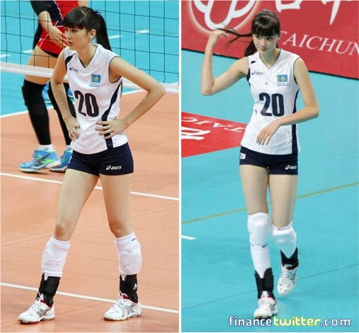Kazakhstan Sabina Altynbekova - Volleyball Player Babe - on court and flashing hair