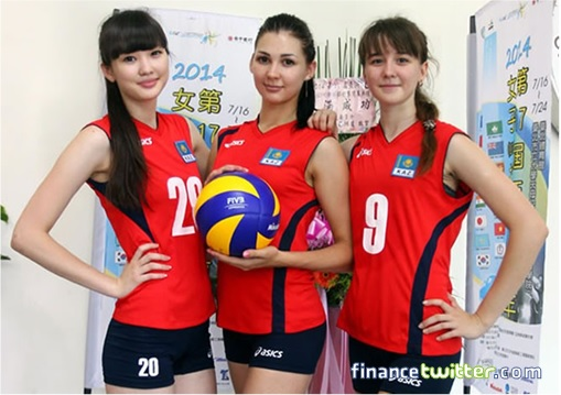 Kazakhstan Sabina Altynbekova - Volleyball Player Babe - pose with team mate