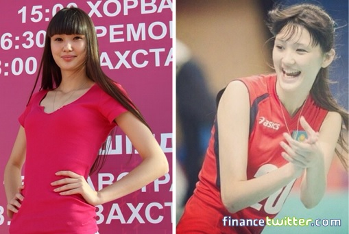 Kazakhstan Sabina Altynbekova - Volleyball Player Babe - red team shirt and red skirt