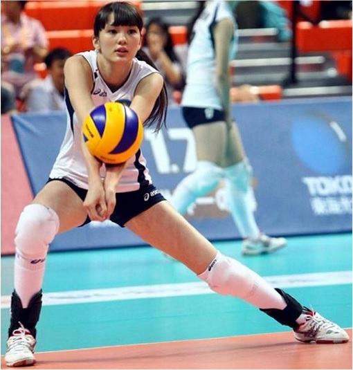 Kazakhstan Sabina Altynbekova - Volleyball Player Babe - returning a ball from opponent