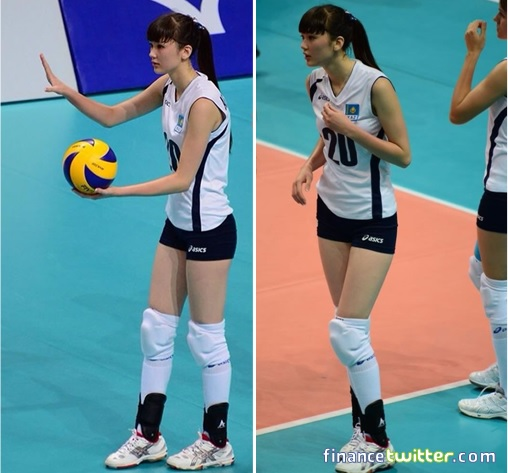 Kazakhstan Sabina Altynbekova - Volleyball Player Babe - serving ball and times out