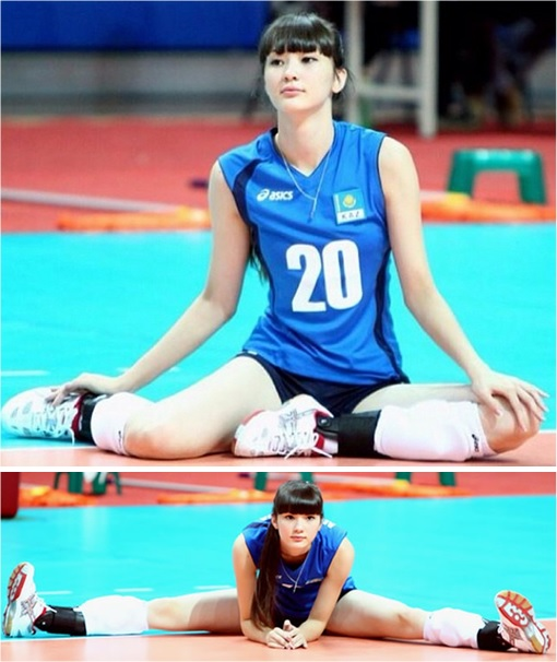 Kazakhstan Sabina Altynbekova - Volleyball Player Babe - sitting warm-up on court