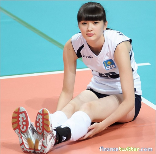 Kazakhstan Sabina Altynbekova - Volleyball Player Babe - warming up sitting on court