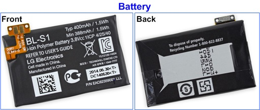 LG G Watch - Battery - Front and Back