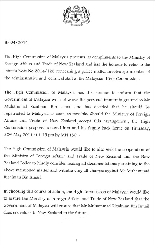 Malaysian Diplomat Rape Case in New Zealand - Malaysian Government Letter - 1