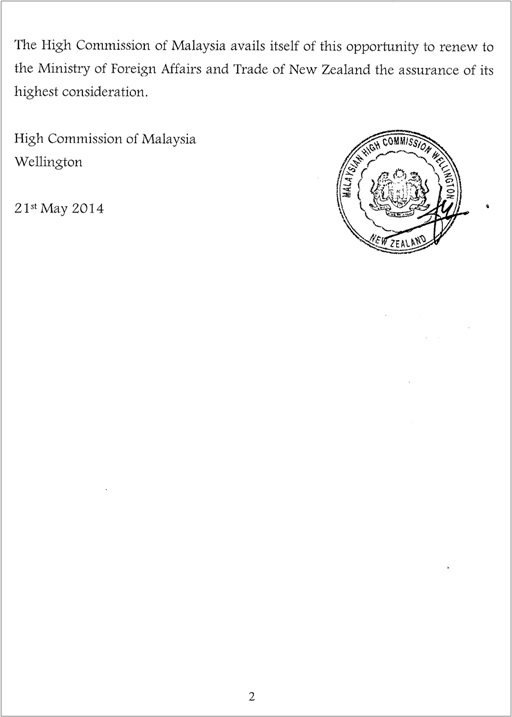 Malaysian Diplomat Rape Case in New Zealand - Malaysian Government Letter - 2