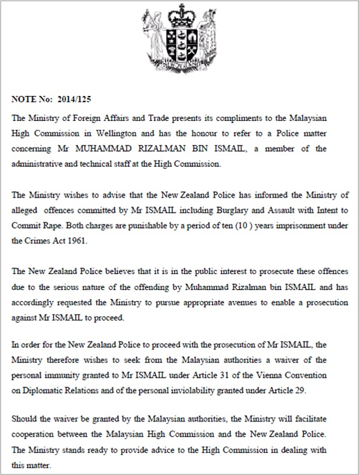 Malaysian Diplomat Rape Case in New Zealand - New Zealand Government Letter - 1