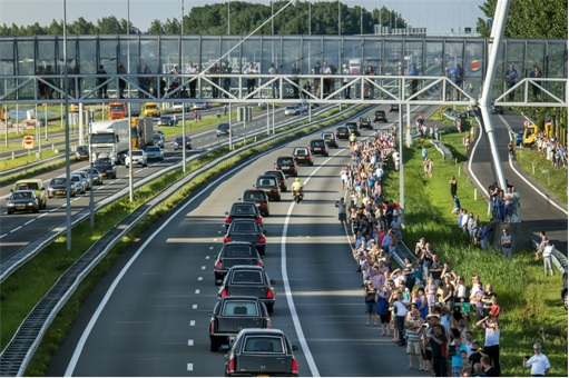 Malaysian Flight MH17 Shot Down - Victims Arrive in Holland - rows of hearses under military police escort 2