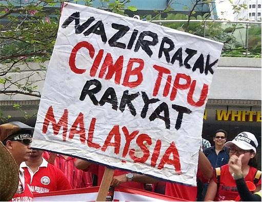 Mega Merger - CIMB Bank Nazir Razak Cheating - Protesters