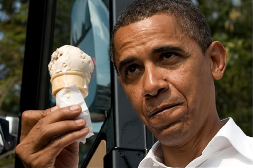President Barack Obama Scooped Ice-Cream