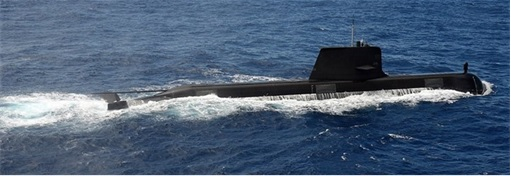 RIMPAC 2014 - A Royal Australian Navy Collins class submarine transits the surface in formation