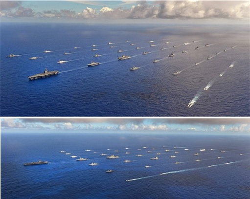 RIMPAC 2014 - Forty-two ships and submarines representing 15 international partner nations steam in close formation 1