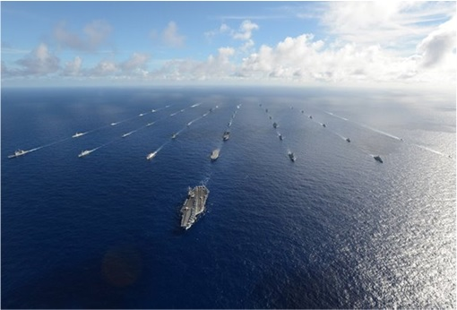 RIMPAC 2014 - Forty-two ships and submarines representing 15 international partner nations steam in close formation 2