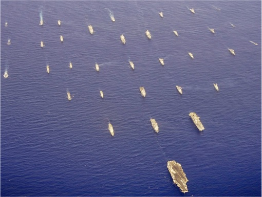 RIMPAC 2014 - Forty-two ships and submarines representing 15 international partner nations steam in close formation 3