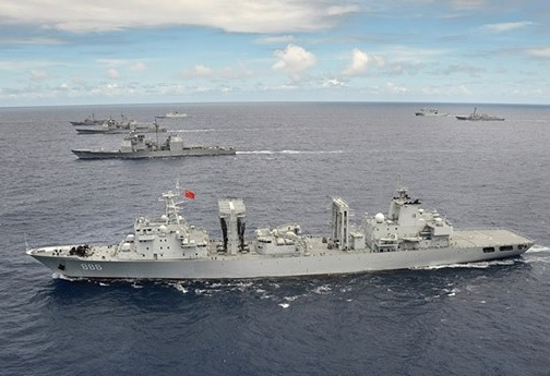 RIMPAC 2014 - People's Republic of China, People's Liberation Army (Navy) ship Qiandaohu (AO 886) steams in close formation