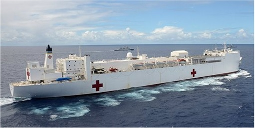 RIMPAC 2014 - U.S. Navy hospital ship USNS Mercy (T-AH 19) steams in close formation